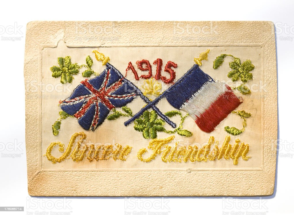 Postcard from World War I with embroidered design royalty-free stock photo