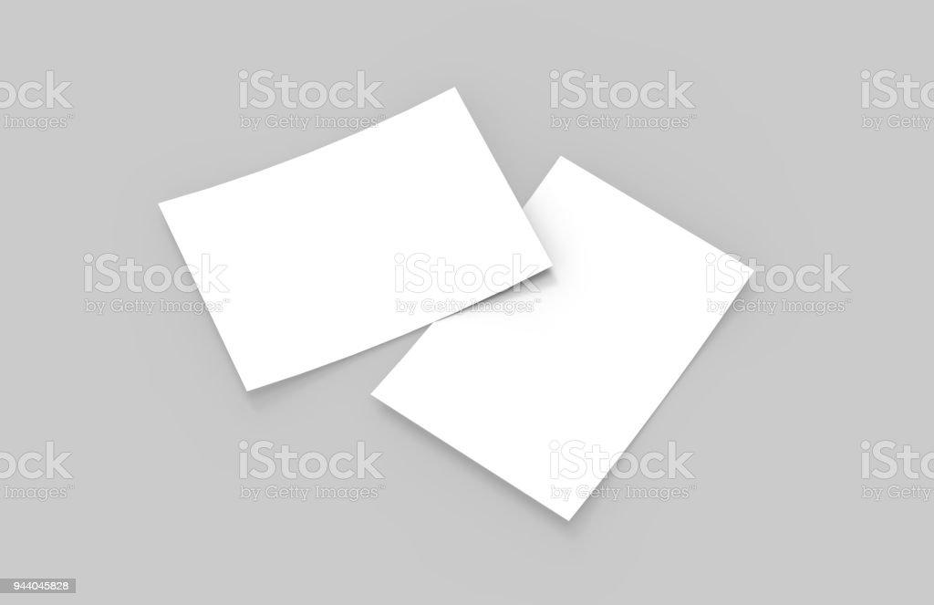 Postcard / Invitation / A6 Flyer Mock-Up - 3D Illustration stock photo