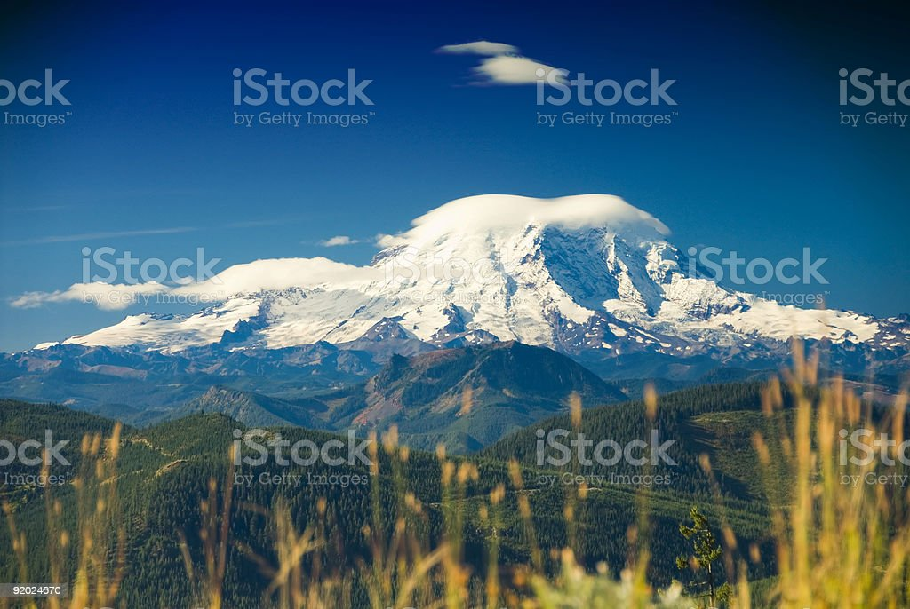 Postcard - Mt Rainier on a perfect day royalty-free stock photo