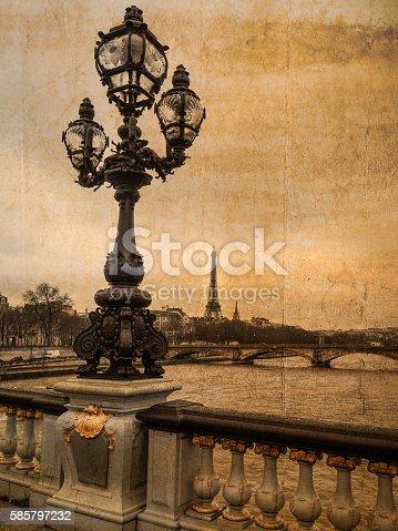istock Postcard of Paris in vintage look 585797232