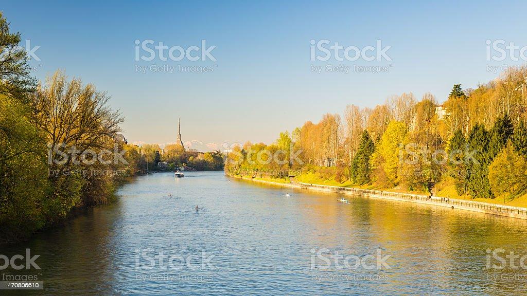 Postcard of Turin (Torino) with Po River stock photo