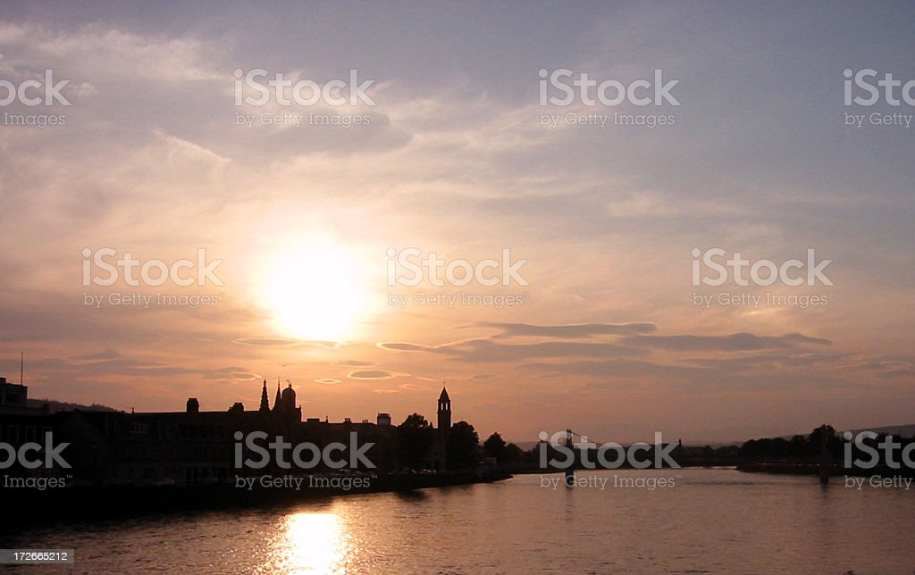 postcard perfect inverness sunset stock photo