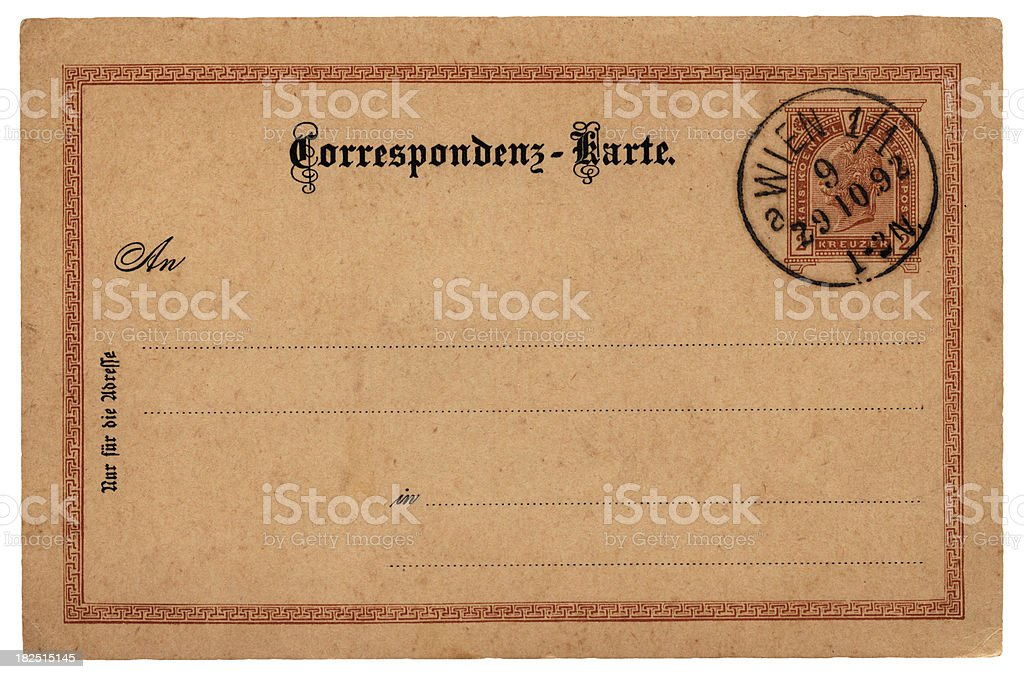Postcard sent from Vienna, 1892 (Emperor Franz Joseph stamp) royalty-free stock photo