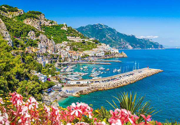 postcard view of famous amalfi coast, campania, italy - south stock pictures, royalty-free photos & images