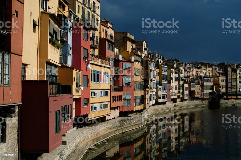 Postcard View of Gerona Riverfront royalty-free stock photo