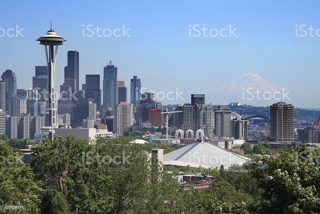 Postcard view of Seattle royalty-free stock photo