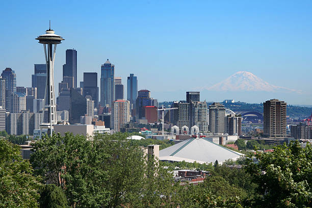Postcard view of Seattle stock photo