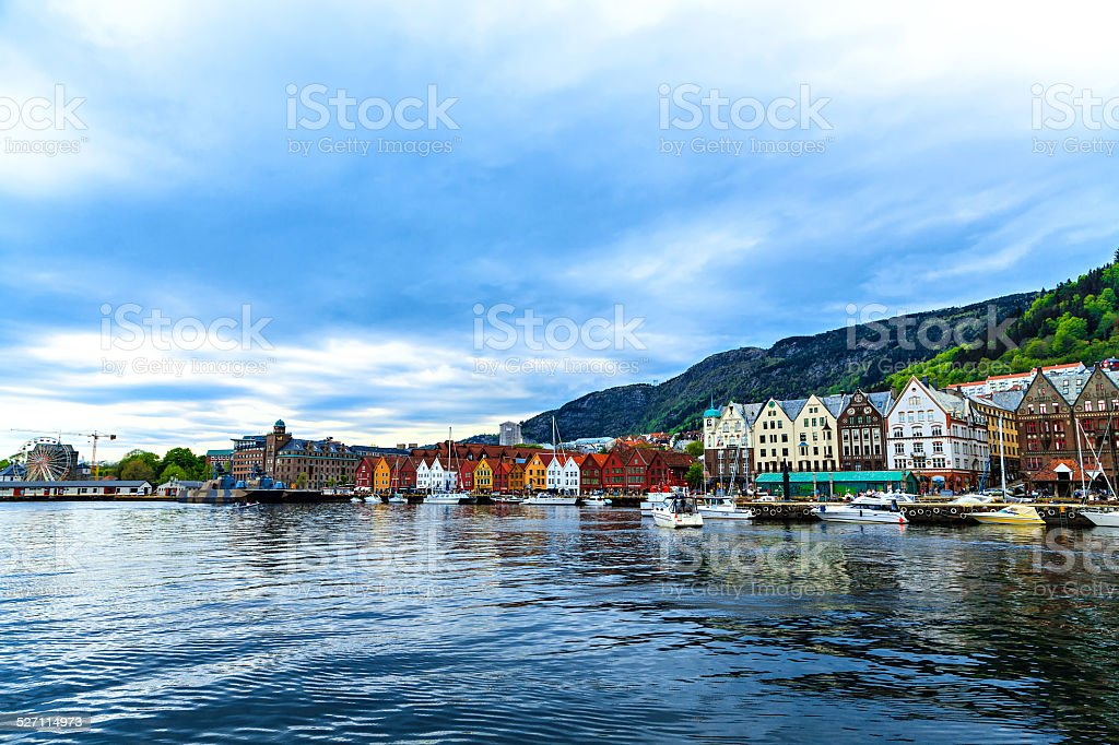Postcard view of the colorful houses in the harbor stock photo