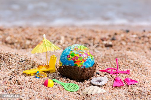 istock Postcard with a globe for travelers diving, beach and outdoor activities 685908006
