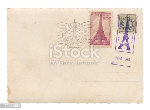 Postcard with Eiffel Tower stamps with date of 16-6-1945.