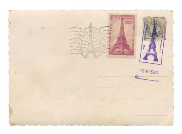 Carte postale avec tour Eiffel timbres - Photo