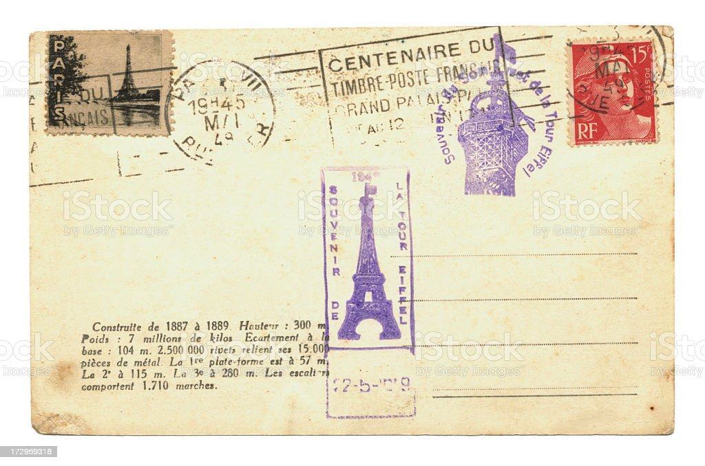 Postcard with Eiffel Tower stamps royalty-free stock photo