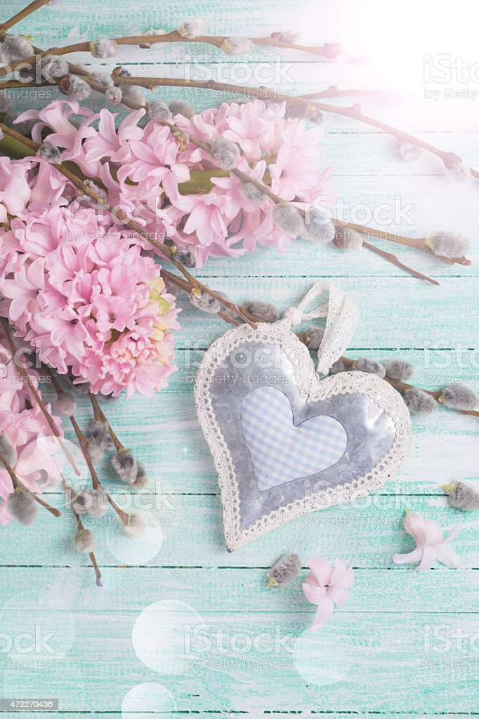 Postcard with hyacynths, willow flowers and heart stock photo
