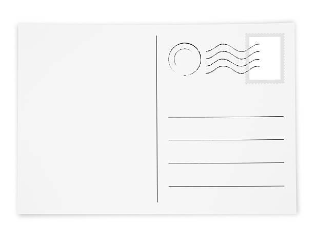 Postcard with Postage Stamp and Postmark stock photo