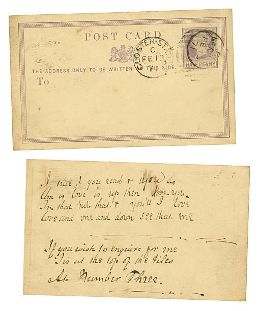 postkarte mit valentine's day love puzzle nachricht, 1871 - liebeskummer englisch stock-fotos und bilder