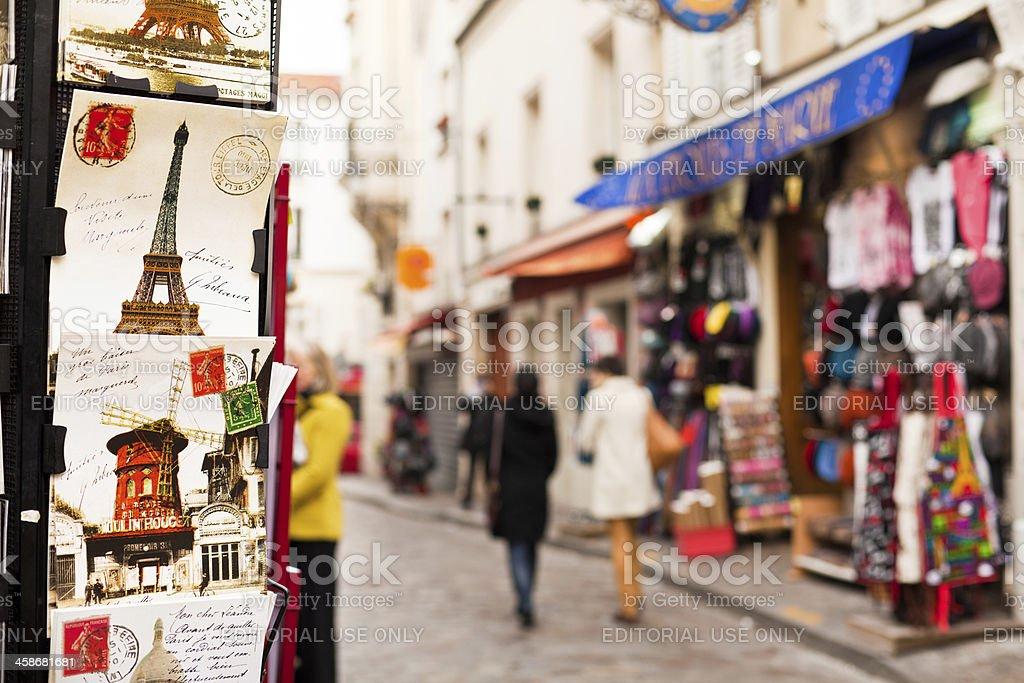 Postcards at a souvenir shop in Paris, France royalty-free stock photo