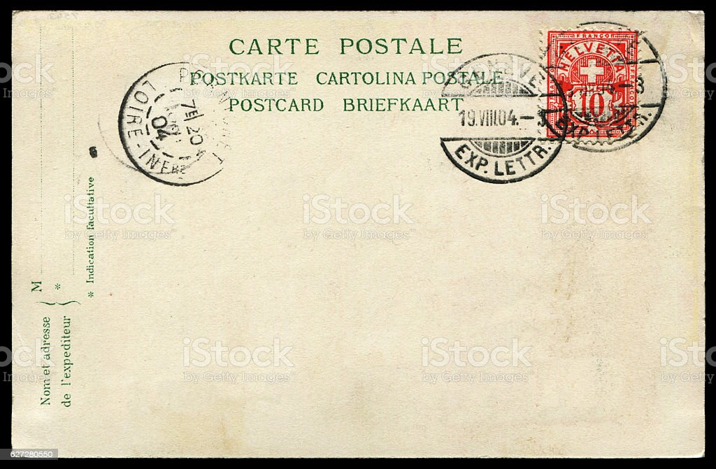posted blank postcard  from Switzerland to France in early 1900s stock photo
