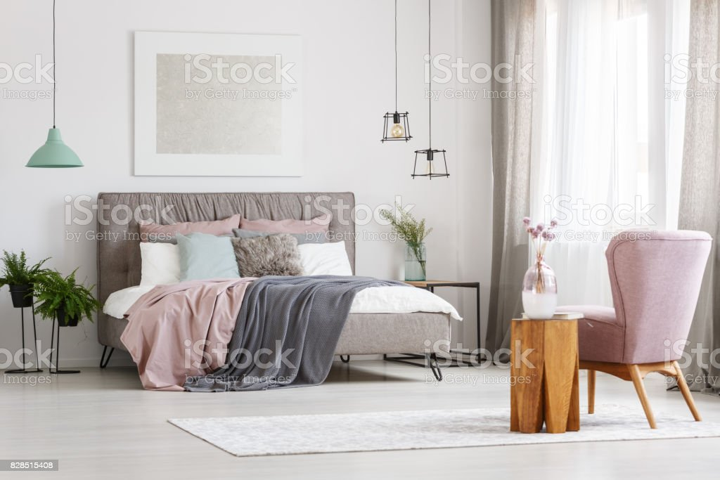 Poster above bed royalty-free stock photo