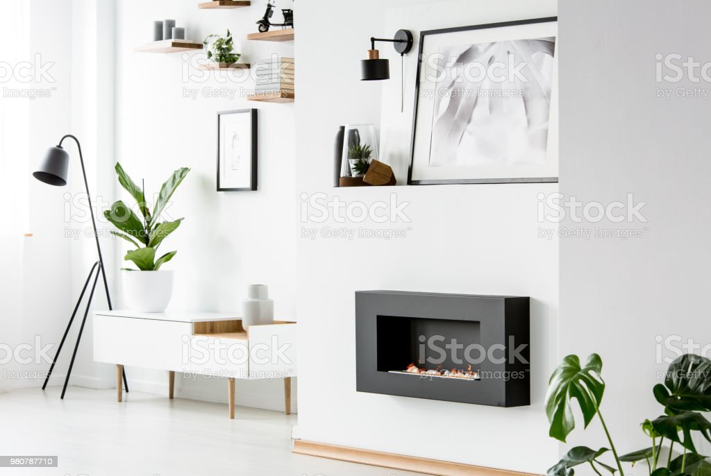 Poster above black fireplace in white apartment interior with plant on cupboard. Real photo