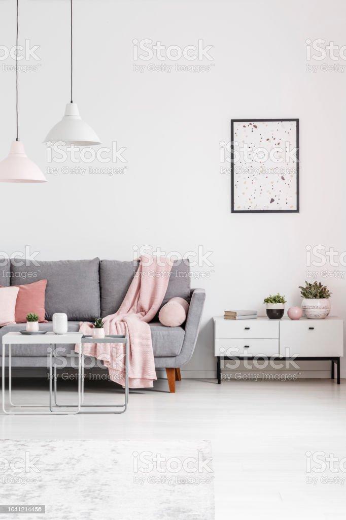 Plakat über Dem Schrank Neben Graue Couch Im Weißen Wohnzimmer