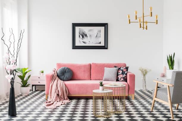 広々 としたリビング ルーム インテリアにパターン化された肘掛け椅子、植物のピンクのソファの上のポスター。実際の写真 - ソファ 無人 ストックフォトと画像