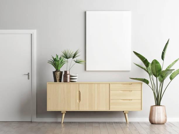 poster über sideboard im wohnzimmer mit pflanzen - sideboard skandinavisch stock-fotos und bilder