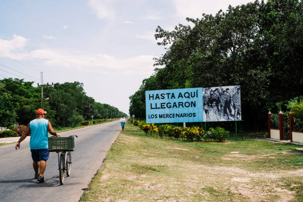 Poster commemorating the Battle in the Bay of Pigs, where the mercenary army, backed by the U.S., was defeated by the Cuban Revolutionary Army. The caption reads: So far the mercenaries came. stock photo