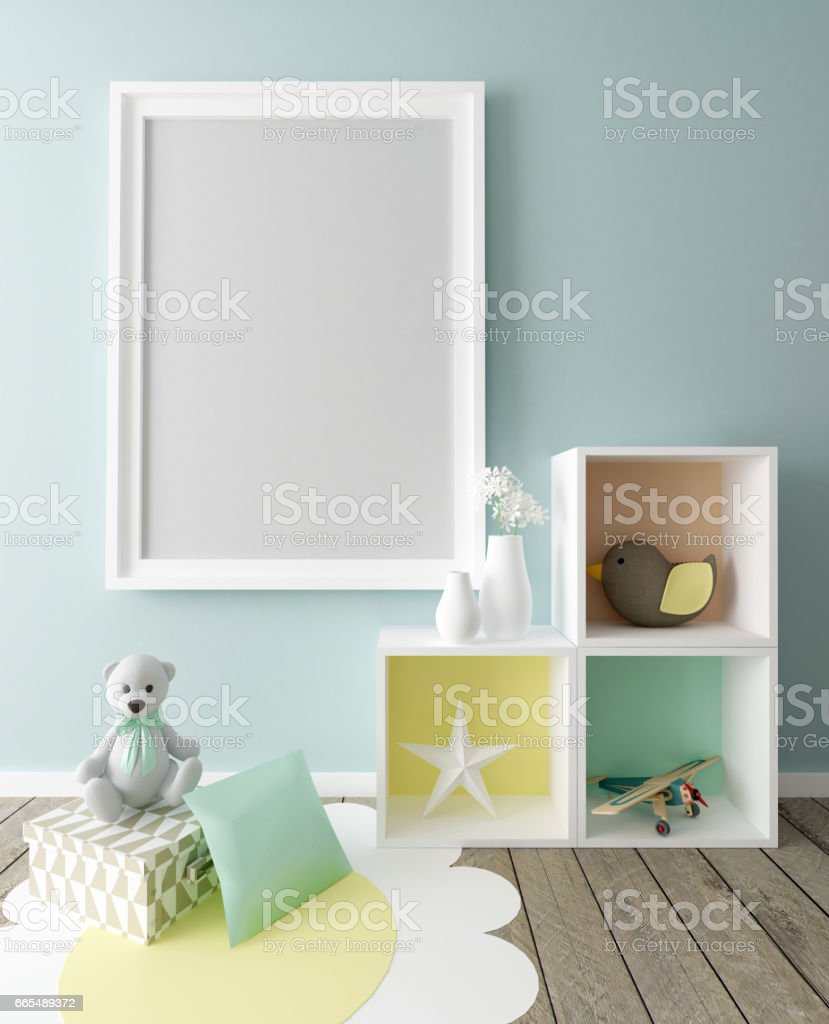 Poster Frame in Chil's Interior stock photo