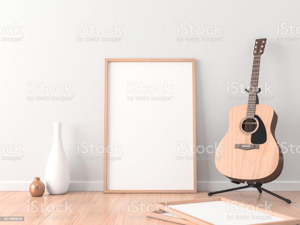Foto de mockup de frame de cartaz no interior moderno com violão