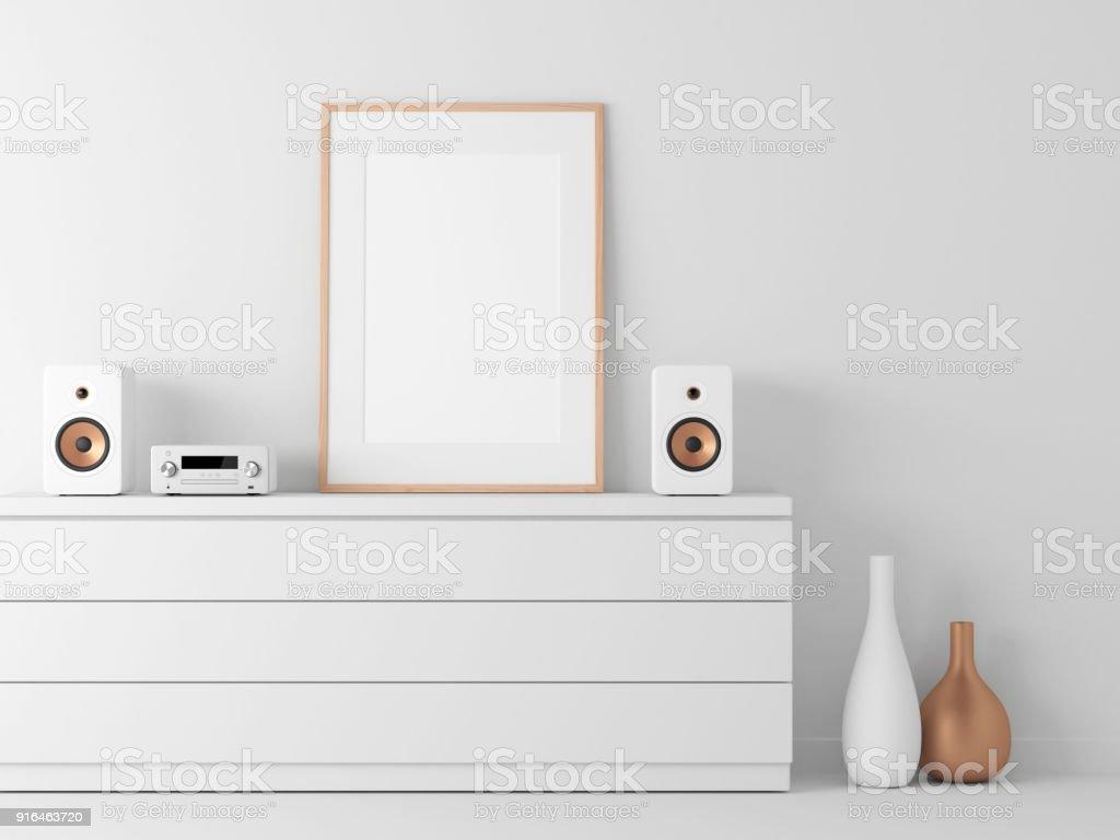 Poster rahmen mockup in weißen modernen interieur micro