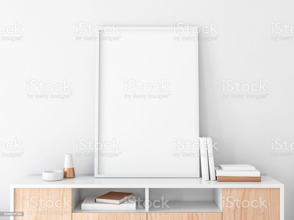 33ad70f6b8ec Poster Frame Mockup On Bureau In Modern Interior Portrait ...