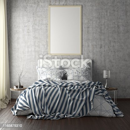 924294300istockphoto poster frame mockups above the bed on the wall in bedroom 1165875310