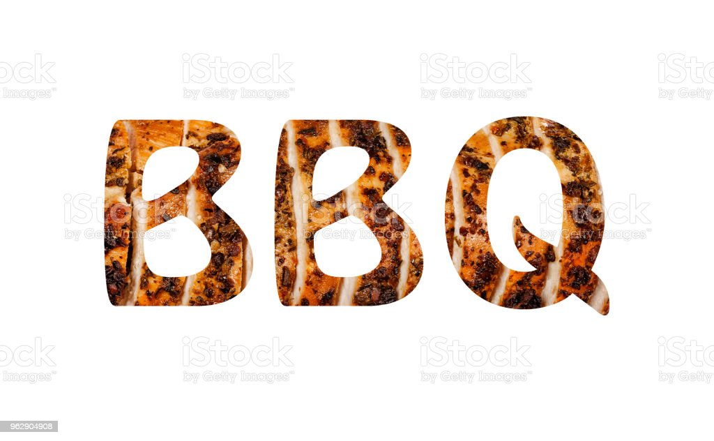 BBQ, poster, grill, Abbreviation, word , Juicy steak, isolated, design, typography, text, stock photo