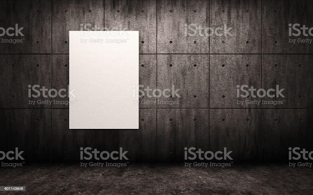 Big dark gloomy concrete room with poster. Mock up.