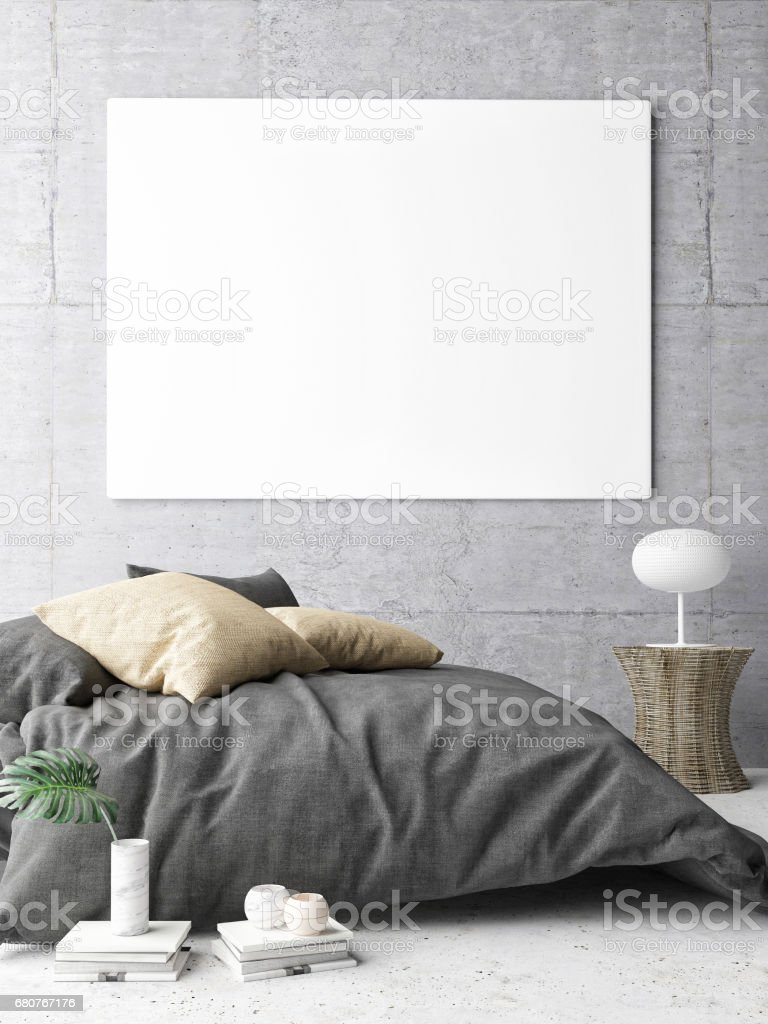 Poster in hipster Bedroom stock photo
