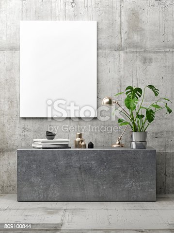 istock poster in hipster interior, minimalism concept concrete interior 809100844