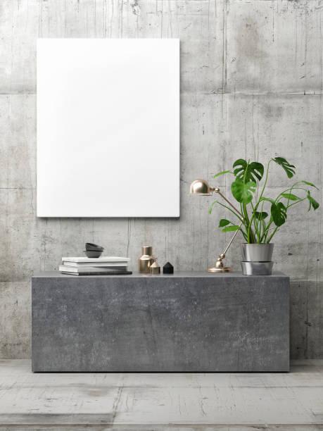 plakat in hipster interieur, minimalismus konzept konkrete innenraum - bilderrahmen gestalten stock-fotos und bilder