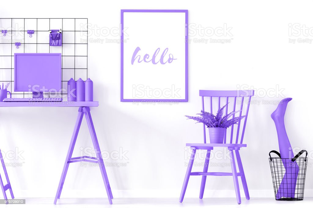 Poster in purple work area stock photo