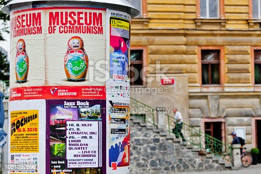 Czech Republic, Prague, August 17, 2010: Poster inviting to the Museum of Communism.