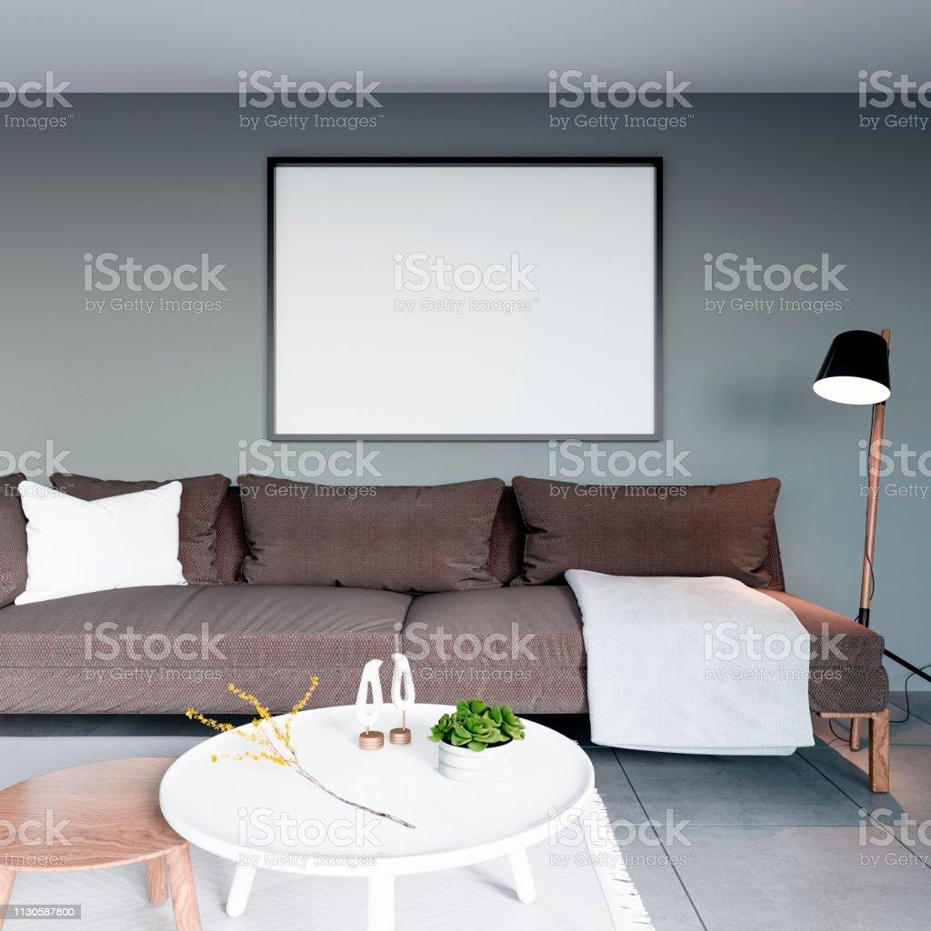 Cadre Au Dessus Du Canapé photo libre de droit de affiche faux vers le haut dessus brun canapé avec  cadre noir en maison fond gris intérieur salle de séjour de style minimal  3d