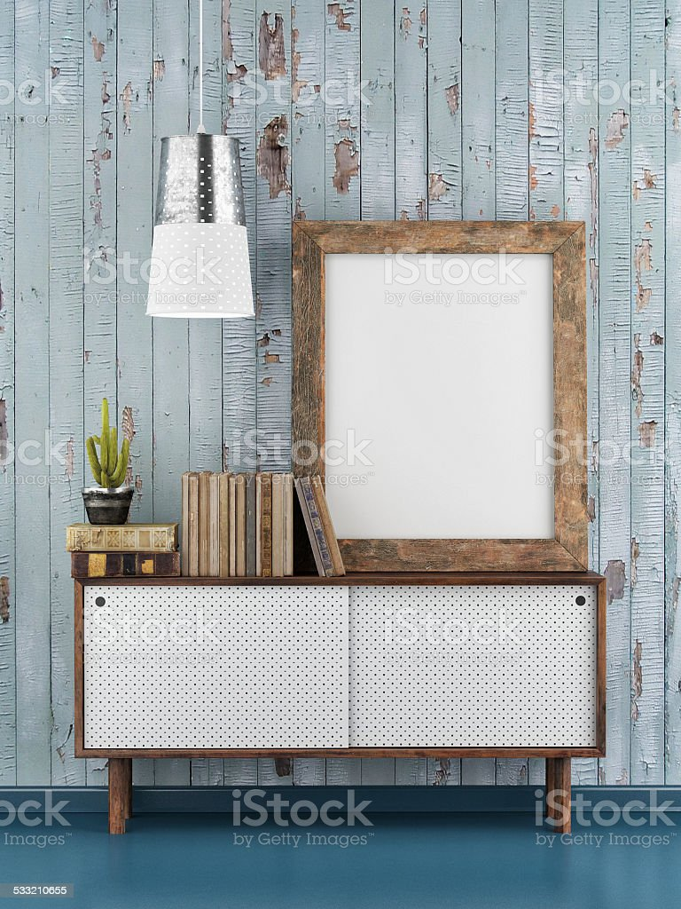 Poster Mock up, blue wooden background, 3d illustration stock photo