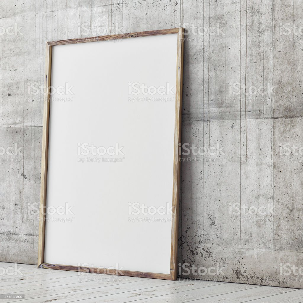 poster mock up, concrete wall background, 3d illustration stock photo