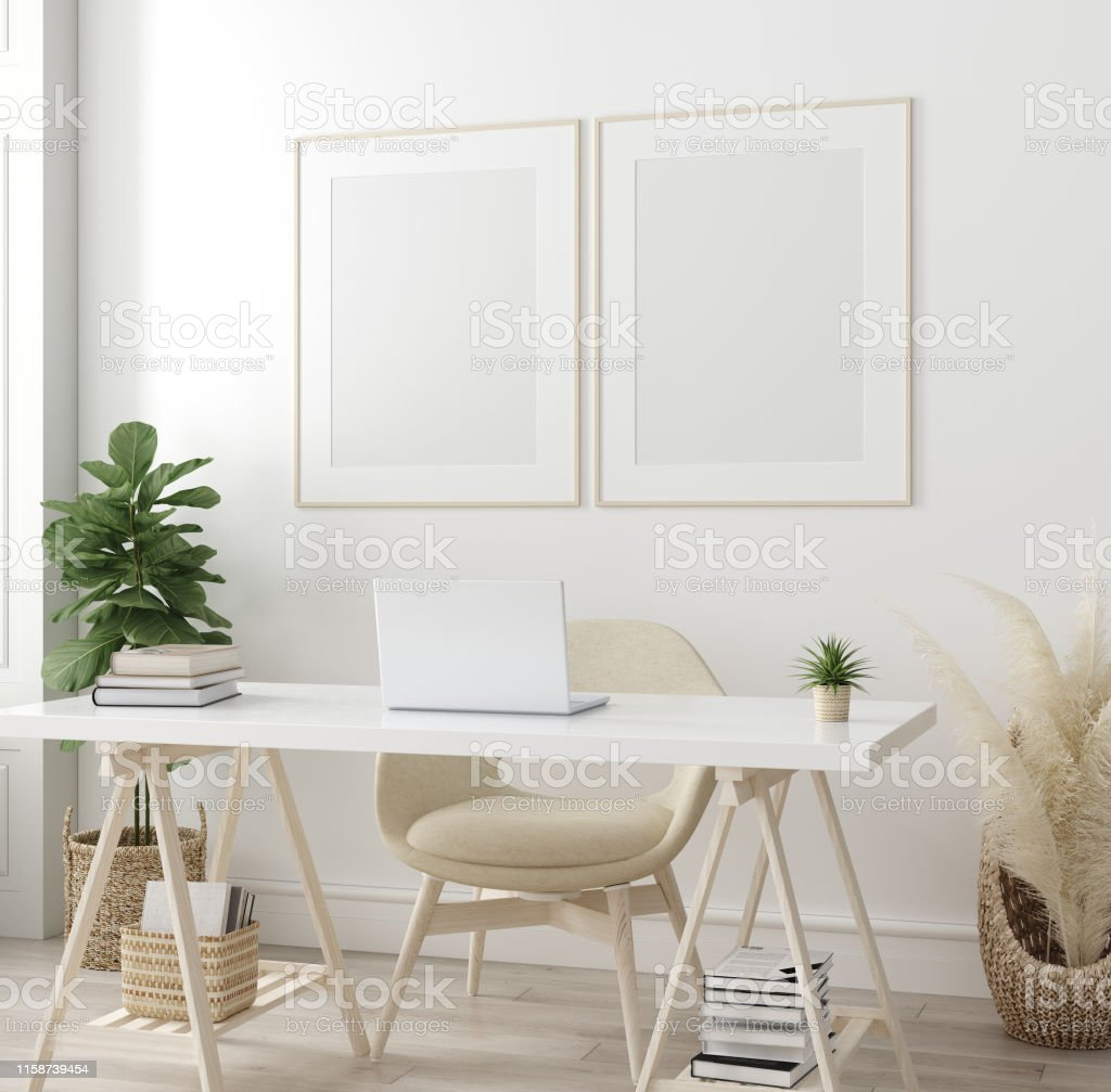 Poster Mock Up In Home Interior Background Home Office Scandiboho