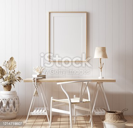 Poster mock up in home office interior background, Coastal style, 3d render
