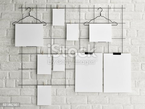 istock Poster mock up on brick wall background 531862931
