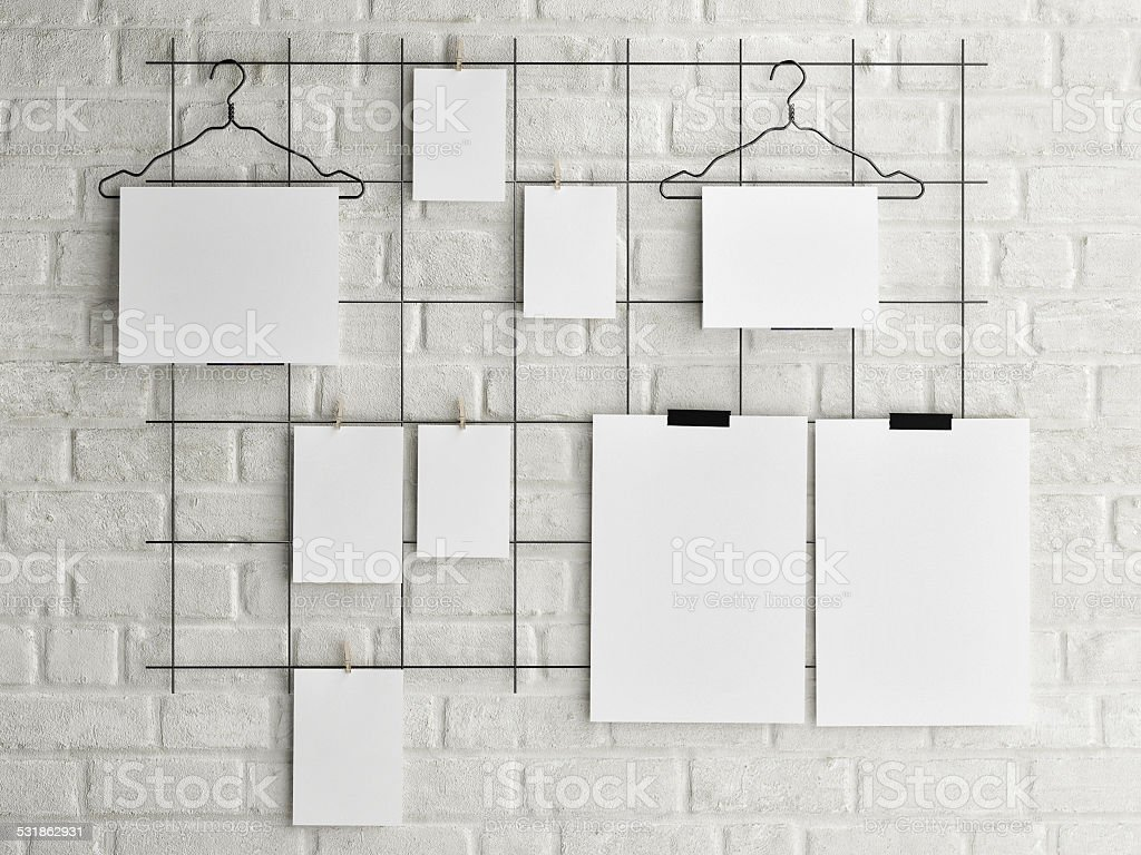 Poster mock up on brick wall background stock photo