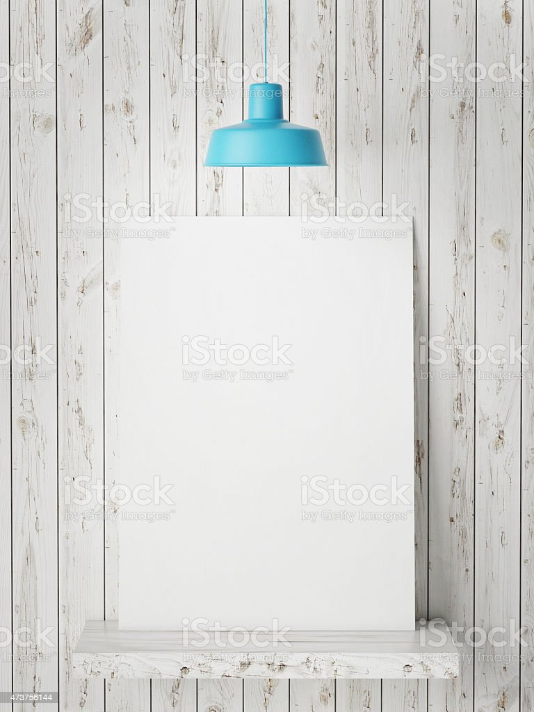 poster mock up, wooden wall background, 3d illustration stock photo