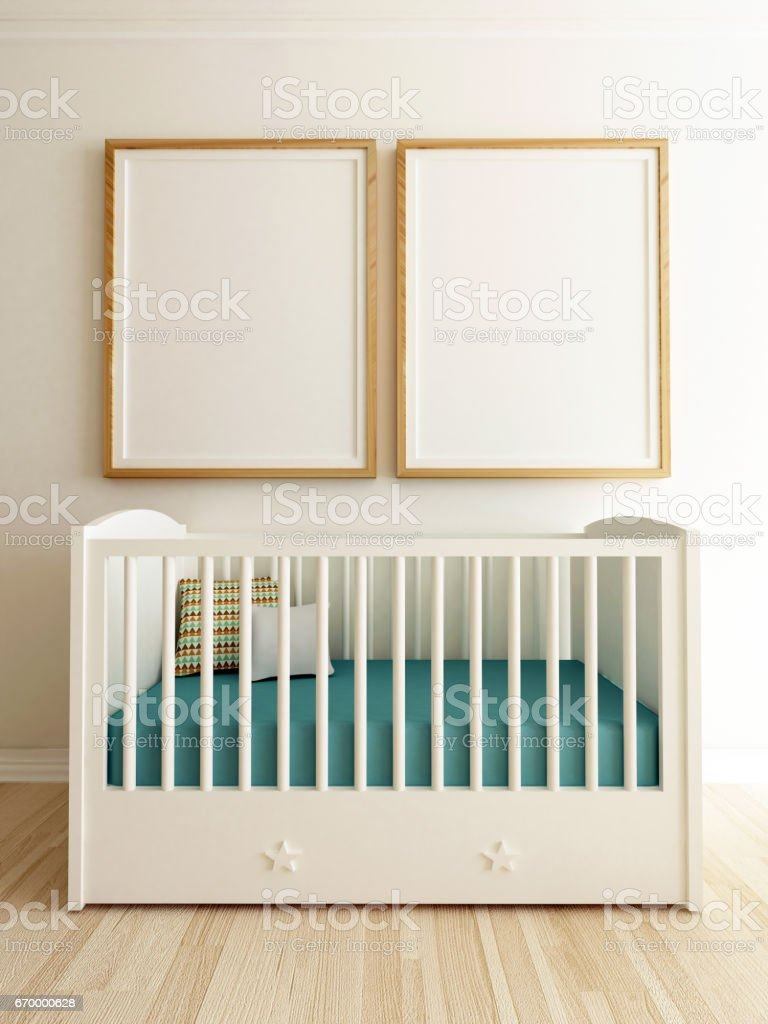 Poster Mockup Baby Room Interior stock photo
