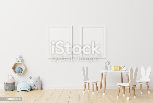 1205865899 istock photo Poster mockup in child room interior. 1205865899