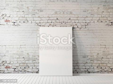 Poster mockup indoors on floor near brick wall 3d rendering